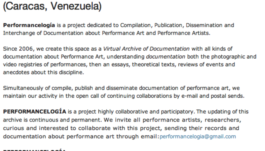 Featured: Performancelogía blog and website (Caracas, Venezuela)