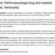 Featured: Performancelogía blog and website (Caracas, Venezuela)