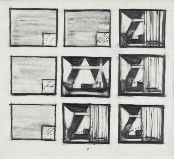 "Robert Wilson, ""Einstein on the Beach"" 1976 storyboard drawings, graphite on paper, 9 3/4 x 9, leaf 7 of 13"