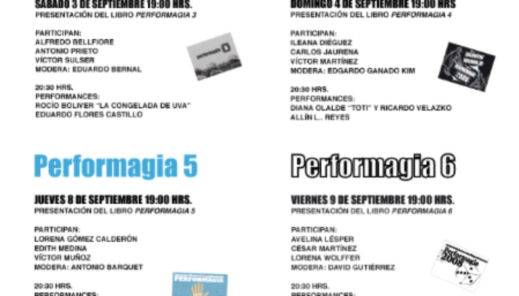 Featured: Performagia 1 – 7  Catalogs (Mexico)